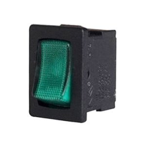 12VDC Green Illuminated rocker switch - AB-RS-007