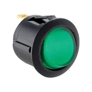 12VDC Green Illuminated Round Rocker Switch - ABRR013