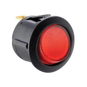 Red Illuminated Round Rocker Switch -ABRR015