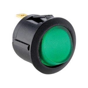 Green Illuminated Round Rocker Switch -ABRR016