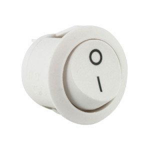 White Momentary Round Rocker Switch - ABRR025