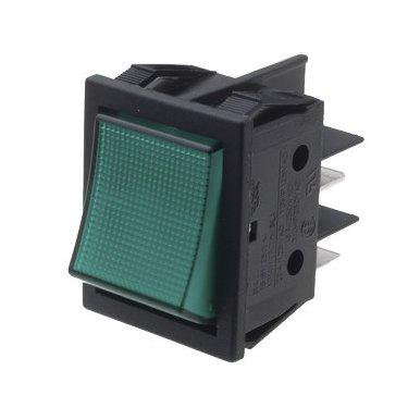 Green Illuminated DP Rocker Switch - B418C1E000000