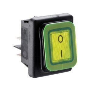 Splash proof rocker switch green illuminated B4MASK48X1V11002