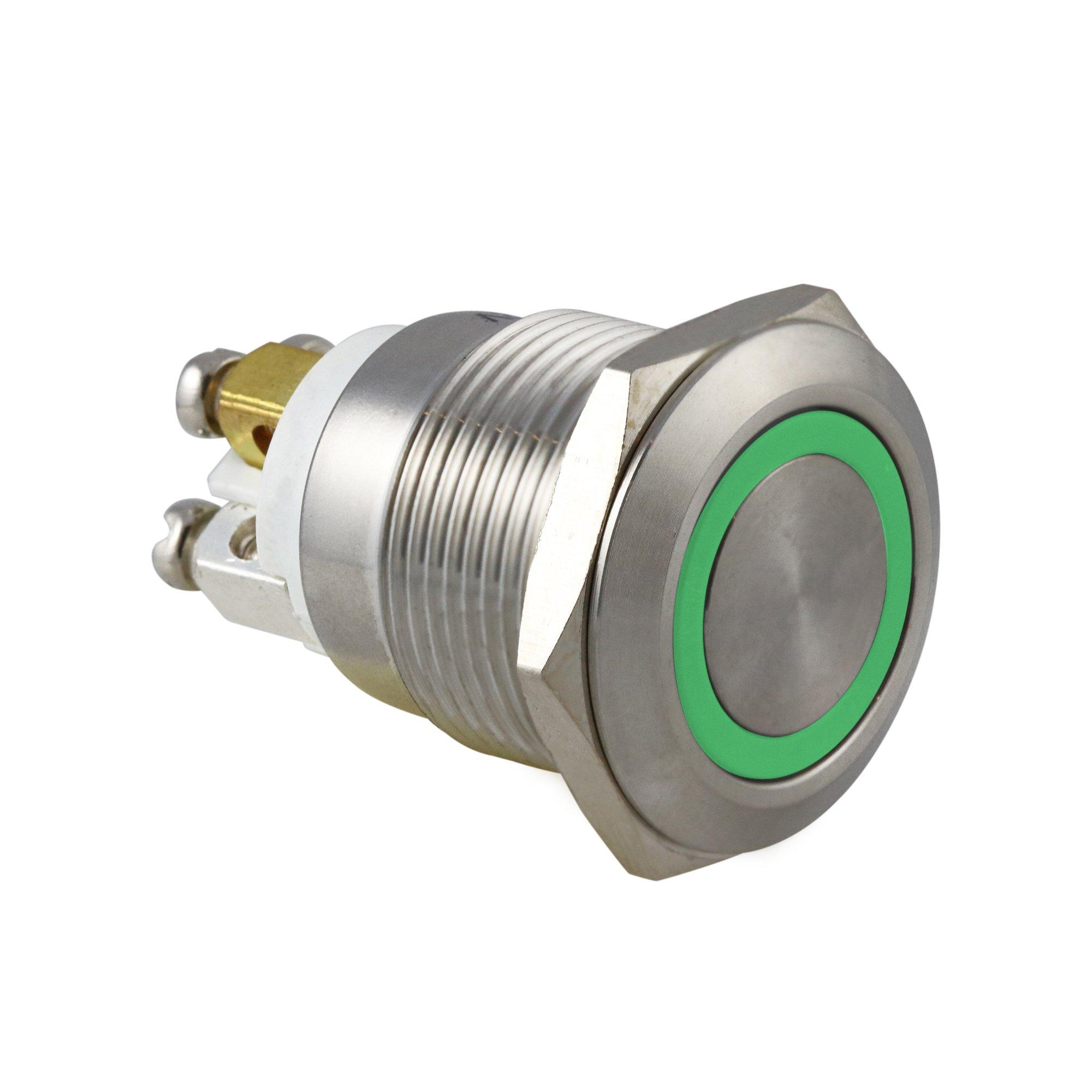 19mm Green Ring Vandal Switch - AB-AV-941