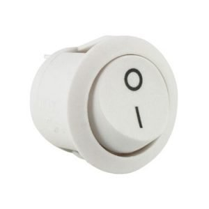 Round white rocker switch - ABRR031