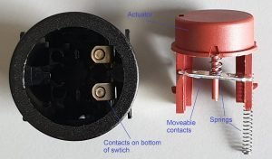 Internal workings of a push button switch