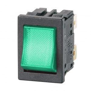 DP Green Illuminated Rocker Switch - GP18H1E00M00